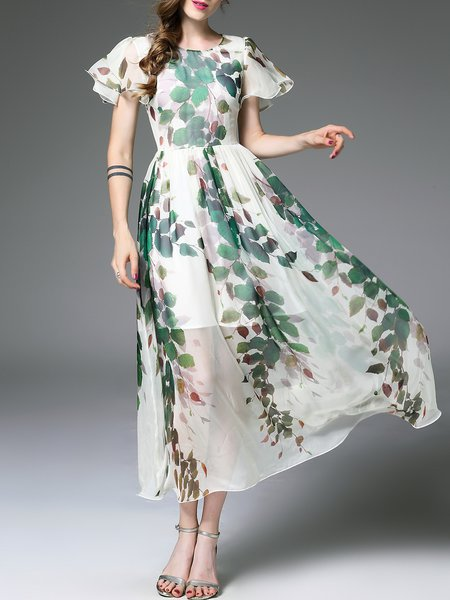 White Frill Sleeve Floral Printed Maxi Dress