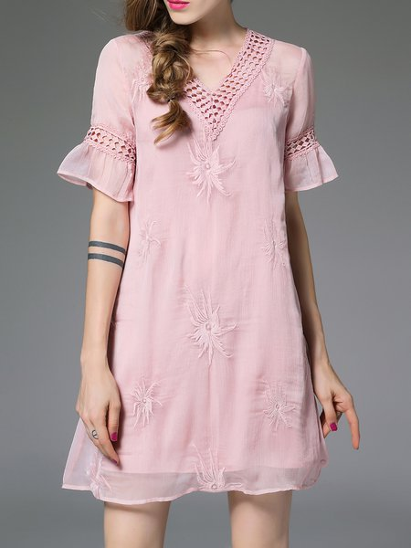 V Neck Frill Sleeve Sweet Polyester Mini Dress