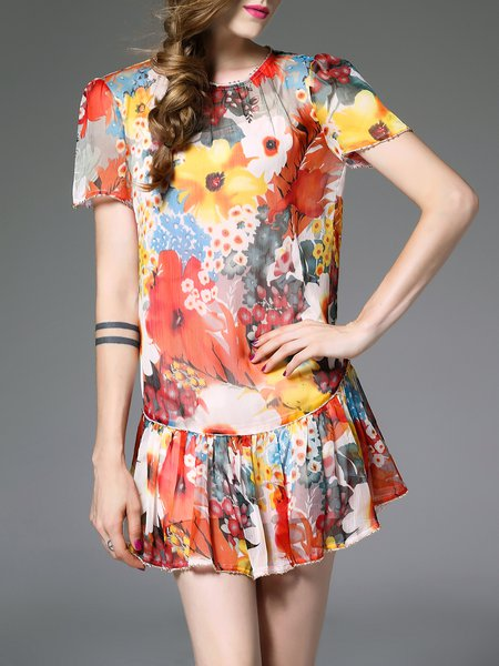 Orange Casual Crew Neck Floral Mini Dress