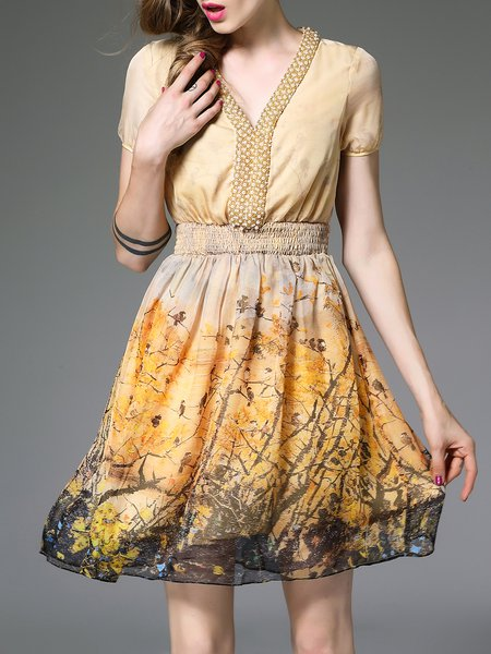 Yellow Plain Casual Polyester Mini Dress