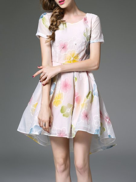 Crew Neck Short Sleeve Floral-print Girly Mini Dress