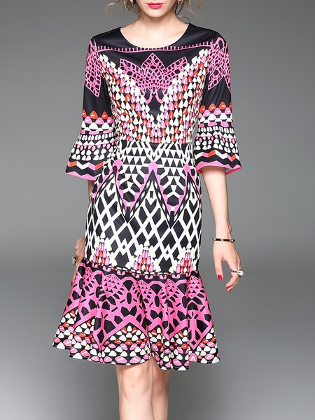 Multicolor A-line Printed Crew Neck Elegant Midi Dress