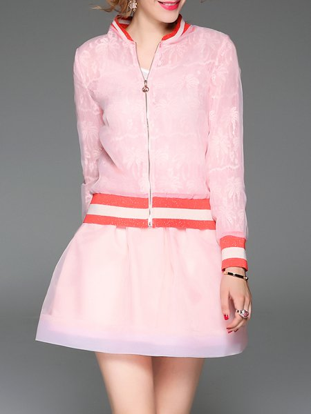 Pink Two Piece Long Sleeve Mini Dress