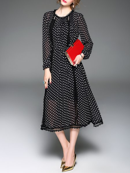 Black Statement Polyester Polka Dots Midi Dress