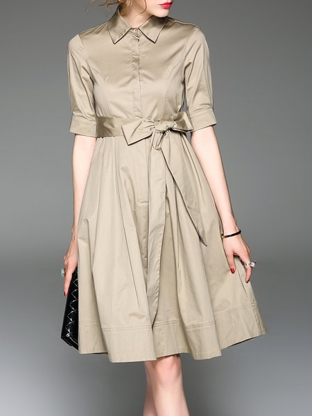 Khaki Half Sleeve A-line Polyester Shirt Dress
