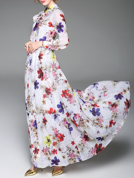 White Floral-print Casual V Neck Silk-blend Maxi Dress