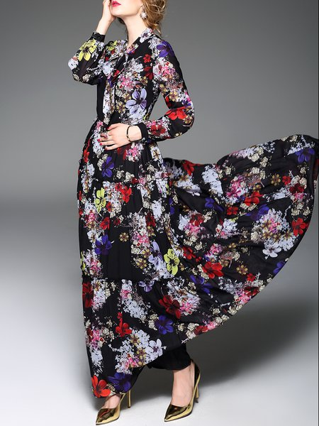 Silk-blend Long Sleeve Casual V Neck Maxi Dress