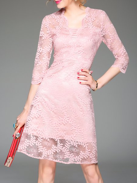 Elegant Plain Pierced 3/4 Sleeve Mini Dress