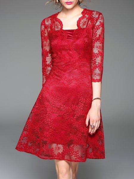 Elegant A-line Plain Pierced 3/4 Sleeve Mini Dress