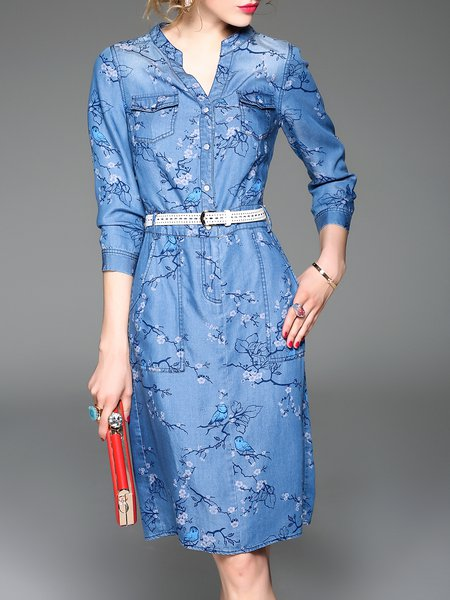 Blue Casual Denim Midi Dress