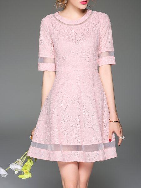 Pink Lace Half Sleeve Pierced Mini Dress