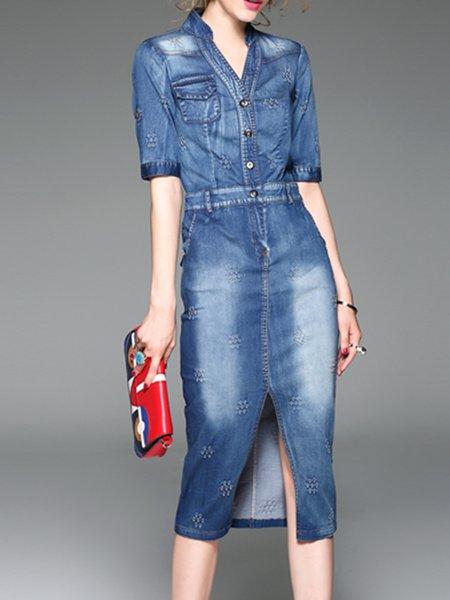 Blue Casual Denim Plain Midi Dress