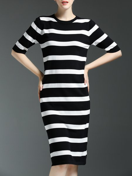 Sheath Casual Half Sleeve Stripes Midi Dress