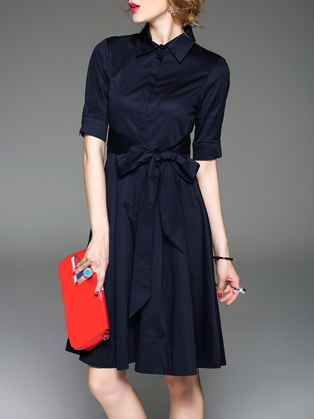Navy Blue Polyester Casual Shirt Dress