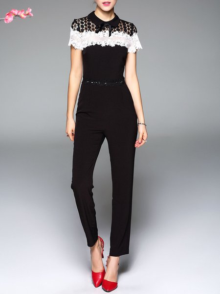 Black Pierced Short Sleeve Peter Pan Collar Jumpsuit