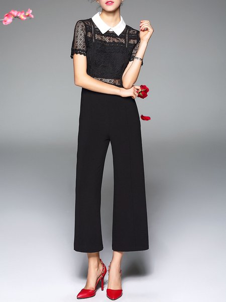 Black Short Sleeve Shirt Collar Guipure Lace Paneled Jumpsuit