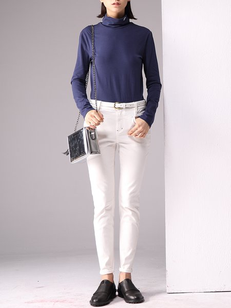 Cowl Neck Long Sleeve Plain Casual Long Sleeved Top