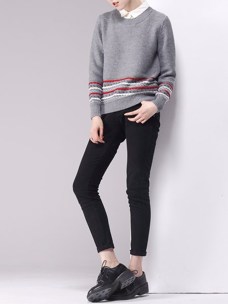 Gray Peter Pan Collar Long Sleeve Knitted Sweater