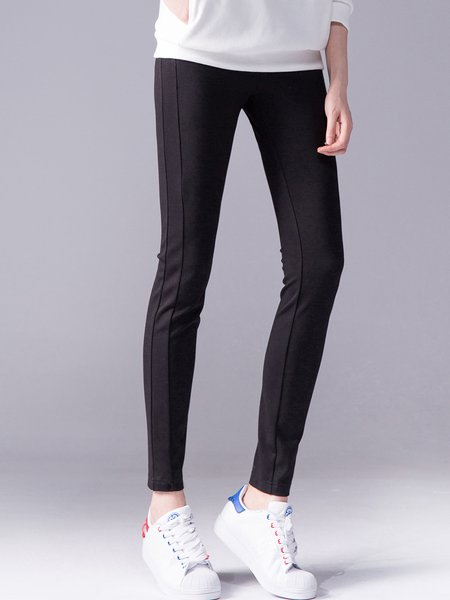 Black Plain Sheath Casual Leggings
