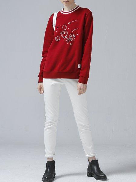 Casual Long Sleeve Shift Printed Hoodies And Sweatshirt