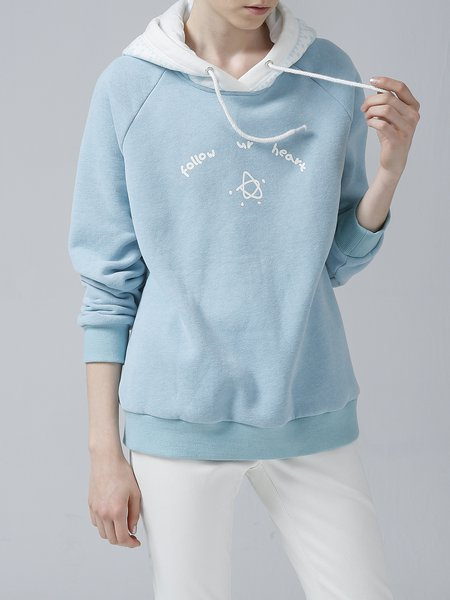 Long Sleeve Casual Letter Polyester Hoodie