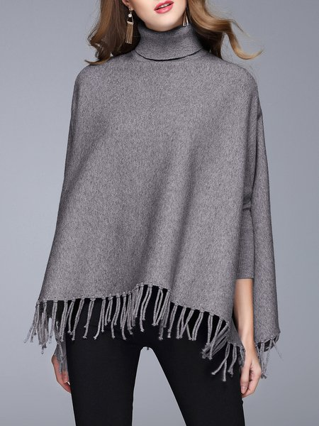 Gray Fringed Long Sleeve Solid Sweater