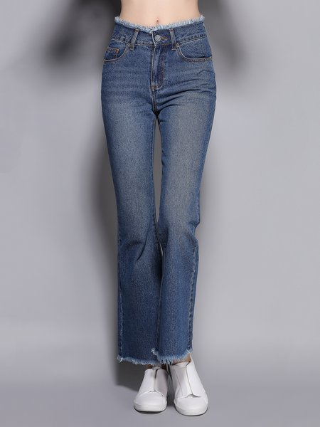 Blue Cotton Solid Casual Flared Pants