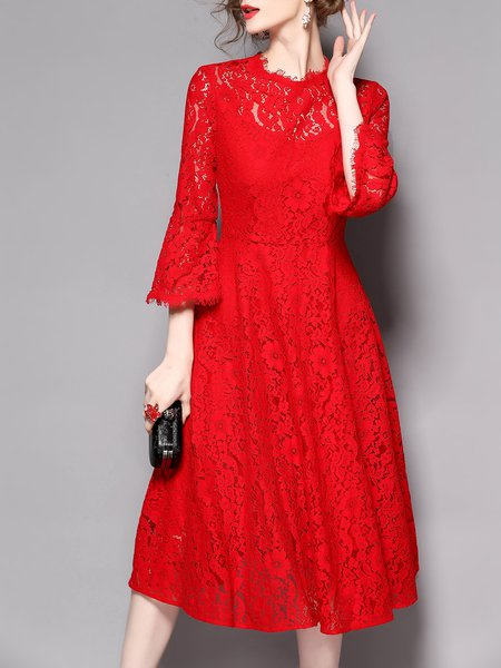 Guipure Lace Elegant Bell Sleeve Midi Dress