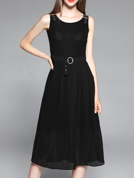 Black Crew Neck Sleeveless Pleated Midi Dress With Belt