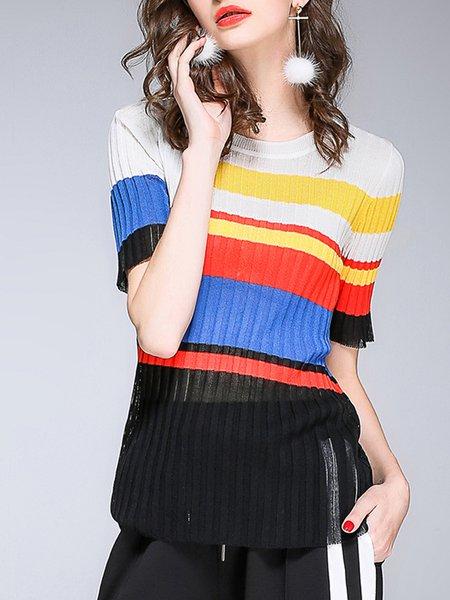 Multicolor Color-block H-line Short Sleeve Sweater