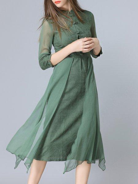 Green Plain Paneled 3/4 Sleeve Vintage Midi Dress