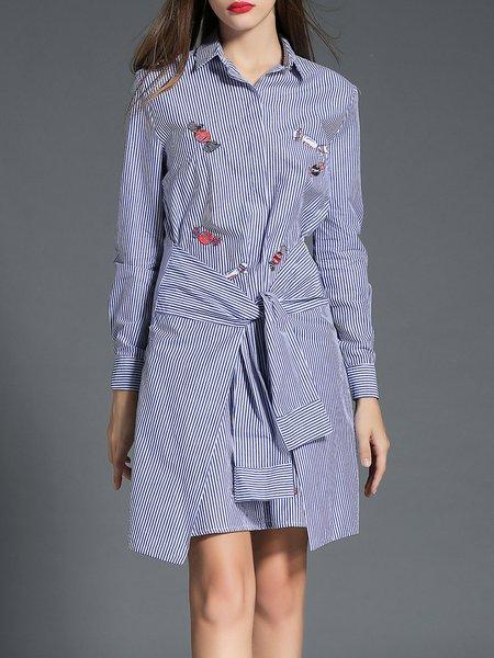 Blue Casual Stripes Paneled Shirt Dress