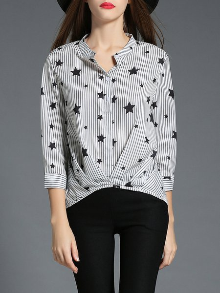 Gray Printed Casual Stripes Stars Blouse