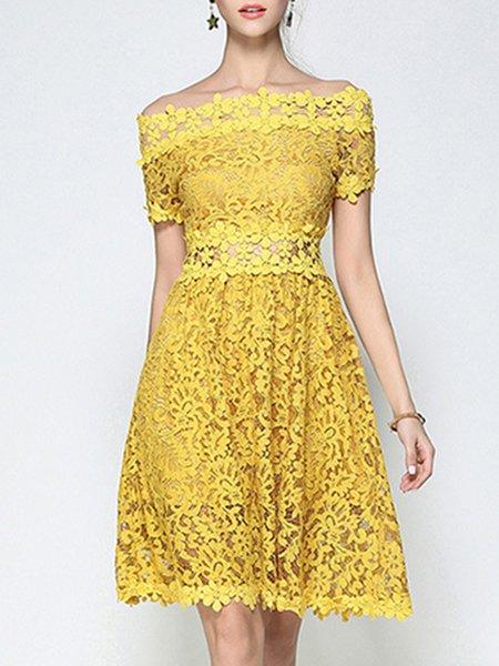 Off Shoulder Yellow Midi Dress A-line Party Elegant Paneled Dress
