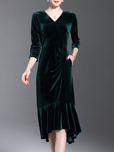 Dark Green Velvet Mermaid Ruffled Wrap Dress