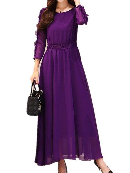 Plus Size Elegant 3/4 Sleeve Guipure Lace Chiffon Maxi Dress