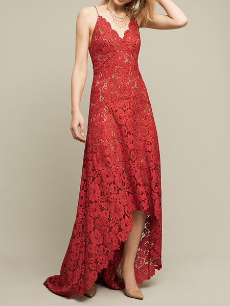 Burgundy Guipure lace Spaghetti Asymmetric Backless Party Boho Dress