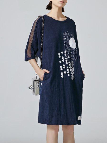 Casual 3/4 Sleeve Geometric Crew Neck Cotton Midi Dress