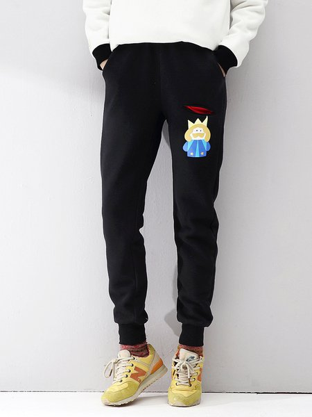 Black Printed Casual Pockets Track Pants