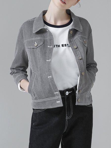 Gray Checkered/Plaid H-line Long Sleeve Coat
