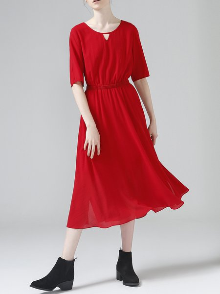 Red Solid Casual Shirred Crew Neck Midi Dress