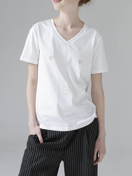 H-line Embroidered Cute T-Shirt