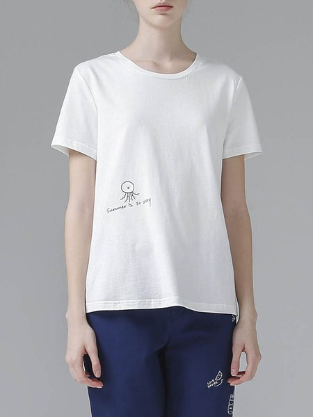 Cotton H-line Shorts Sleeve Simple T-Shirt