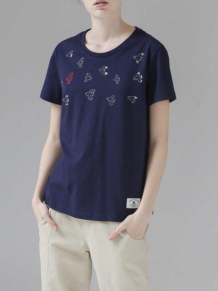 Short Sleeve H-line Crew Neck Simple Printed T-Shirt