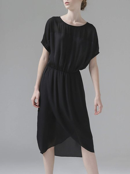 Casual Short Sleeve Gathered Midi Dress