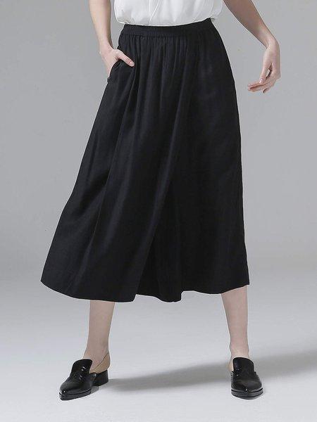 Black Solid Casual Culottes Pants