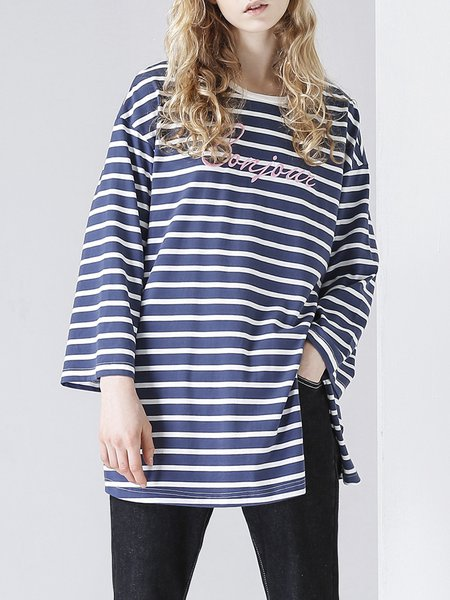 3/4 Sleeve H-line Stripes Casual Long Sleeved Top