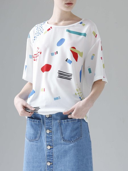 White Casual Crew Neck Printed T-Shirt
