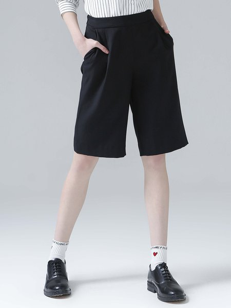 Black Casual Solid Pockets Cropped Pants