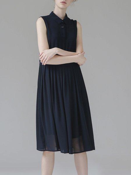Navy Blue Pleated Shirt Collar Sleeveless Midi Dress